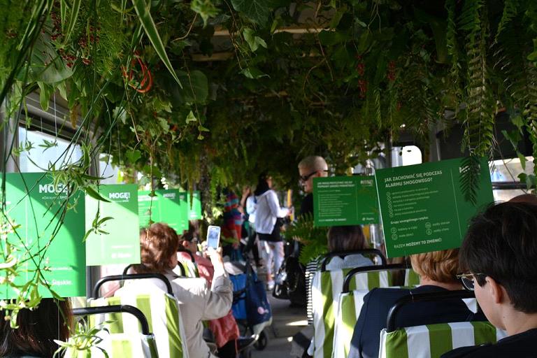 Wnętrze antysmogowego tramwaju wygląda jak dżungla: pełno w nim paproci oraz zwisających pnączy